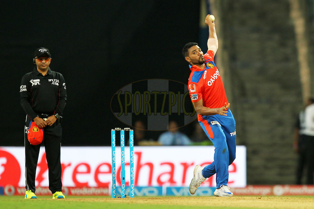 Shadab Jakati of Gujrat Lions  bowls during match 9 of the Vivo Indian Premier League ( IPL ) 2016 between the Mumbai Indians and the Gujarat Lions held at the Wankhede Stadium in Mumbai on the 16th April 2016Photo by Prashant Bhoot/ IPL/ SPORTZPICS