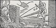 Man operating bellows to increase the draught to a furnace.  From 'De la pirotechnia' by Vannoccio Biringuccio (Venice, 1540).