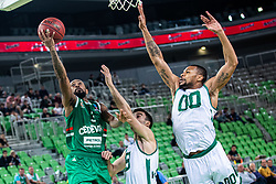 Ryan Jamar Boatright of KK Cedevita Olimpija and Anthony Da Silva of Nanterre 92 and Taylor Smith of Nanterre 92 during EuroCup basketball match between teams KK Cedevita Olimpija and Nanterre 92 in Round 4, Arena Stozice, 23. October, Ljubljana, Slovenia. Photo by Grega Valancic / Sportida