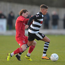 TELFORD COPYRIGHT MIKE SHERIDAN James McQuilkin of Telford battles for the ball with Darlington's Josef Wheatley during the Vanarama Conference North fixture between Darlington and AFC Telford United at Blackwell Meadows on Saturday, November 30, 2019.<br /> <br /> Picture credit: Mike Sheridan/Ultrapress<br /> <br /> MS201920-032