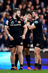 Enrique Pieretto of Exeter Chiefs prepares to join his first scrum with Alec Hepburn of Exeter Chiefs and Luke Cowan-Dickie of Exeter Chiefs during his debut appearance - Mandatory by-line: Ryan Hiscott/JMP - 29/12/2019 - RUGBY - Sandy Park - Exeter, England - Exeter Chiefs v Saracens - Gallagher Premiership Rugby