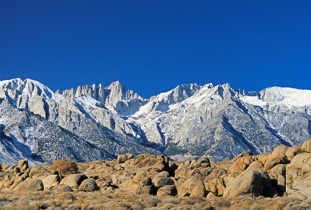 Mount Whitney and Whitney Portals, Sierra Nevada Mountains, California, with Alabama Hills in the foreground.