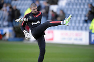 Goalkeeper Victor Valdes of Manchester United doing pre match warm up before k/o. Barclays Premier league match, Queens Park Rangers v Manchester Utd at Loftus Road in London on Saturday 17th Jan 2015. pic by John Patrick Fletcher, Andrew Orchard sports photography.