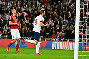 Goal - Harry Kane of England celebrates scoring a goal from the penalty spot to give a 2-0 lead to the home team during the UEFA European 2020 Qualifier match between England and Czech Republic at Wembley Stadium, London, England on 22 March 2019.