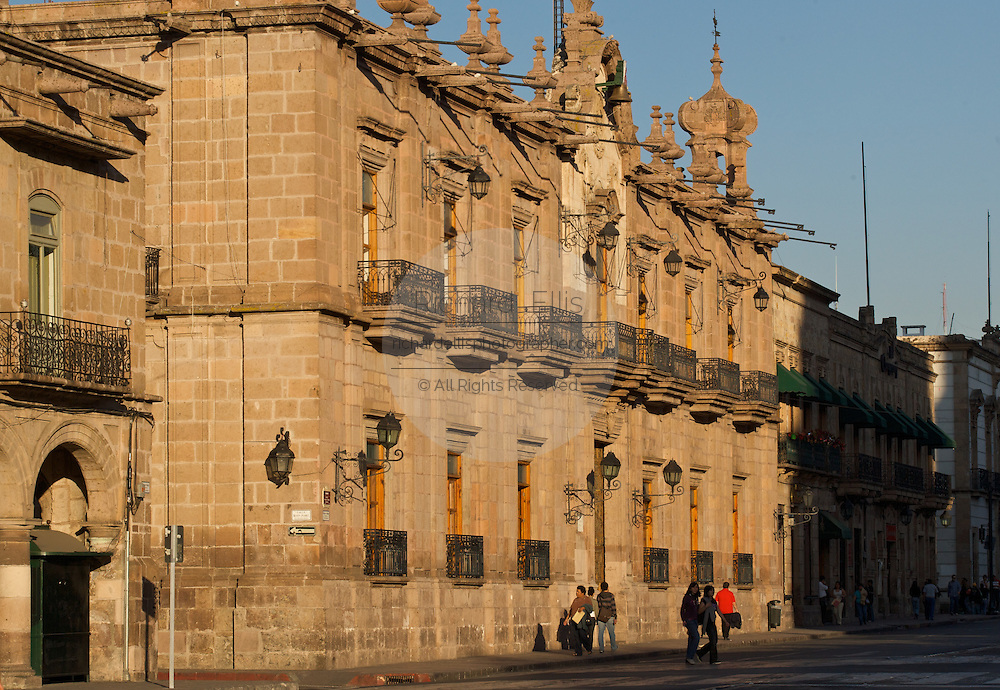 Palacio de Gobierno, the 17th-century palace, a baroque government building in the central highland city of Morelia, Michoacan state Mexico. The city is a UNESCO World Heritage Site and hosts on of the best preserved collection of Spanish Colonial architecture in the world.