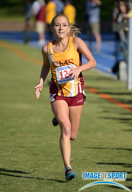 Nov 14, 2015; Claremont, CA, USA; Bridget Blum of Claremont-Mudd-Scripps places fifth in the womens race in 21:58 during the 2015 NCAA Division III West Regionals cross country championships at Pomona-Pitzer College.