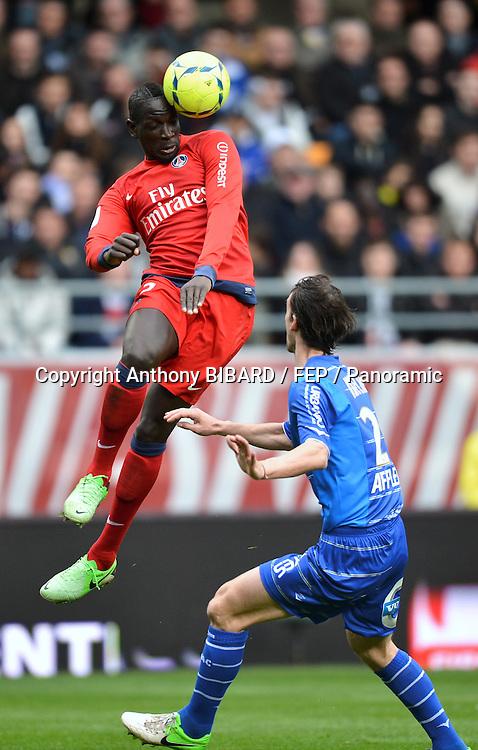 Mamadou Sakho (psg) - Jeremie Brechet (tro). Troyes v PSG at Stade de l'Aube, Paris Saint-Germain won 1-0, 13 April 2013. Photo: Anthony Bibard.
