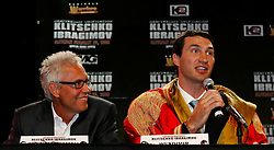 December 4, 2007; New York, NY, USA;  IBF/IBO Heavyweight Champion Wladimir Klitschko (r), alongside his manager Bernd Boente (l), speaks at the press conference announcing his February 23, 2008 unification fight against WBO Heavyweight Champion Sultan Ibragimov.  The two fighters will meet at Madison Square Garden.