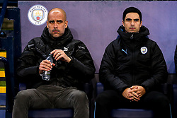 Manchester City manager Pep Guardiola and Manchester City Coach Mikel Arteta - Mandatory by-line: Robbie Stephenson/JMP - 26/11/2019 - FOOTBALL - Etihad Stadium - Manchester, England - Manchester City v Shakhtar Donetsk - UEFA Champions League Group Stage