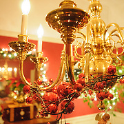 Interior of a home decorated for a traditional Christmas.