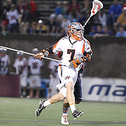 Matt Bocklet #7 of the Denver Outlaws controls the ball during the game at Harvard Stadium on May 10, 2014 in Boston, Massachusetts. (Photo by Elan Kawesch)