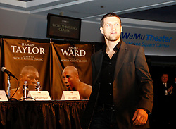 July 13, 2009; New York, NY, USA; Carl Froch arrives at the press conference announcing the Super Six World Boxing Classic Tournament at Madison Square Garden in New York City.  Abraham will open the tournament against American Jermain Taylor.