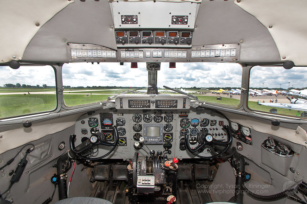 "A view of the instrument panel inside ""Piedmont Airlines"" DC-3, N44V, which formerly flew as C-47 AF 41-38596."