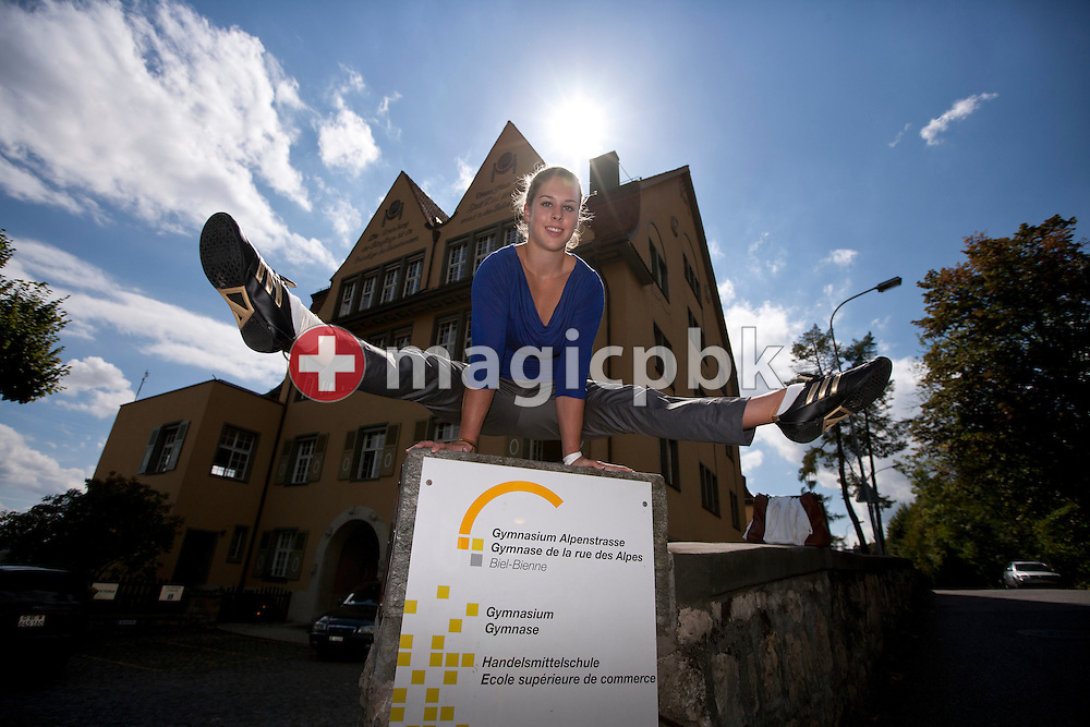 Artistic gymnastics athlete Giulia STEINGRUBER of Switzerland poses in front of her school 'Gymnasium Alpenstrasse' in Biel, Switzerland, Monday, Aug. 29, 2011. (Photo by Patrick B. Kraemer / MAGICPBK)