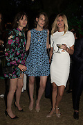 SAM ROLLINSON; LARA MULLEN; TAYLOR BAGLEY, Serpentine's Summer party co-hosted with Christopher Kane. 15th Serpentine Pavilion designed by Spanish architects Selgascano. Kensington Gardens. London. 2 July 2015.