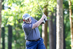Chan Gailey tees off on the 10th hole during the Chick-fil-A Peach Bowl Challenge at the Ritz Carlton Reynolds, Lake Oconee, on Tuesday, April 30, 2019, in Greensboro, GA. (Karl L. Moore via Abell Images for Chick-fil-A Peach Bowl Challenge)