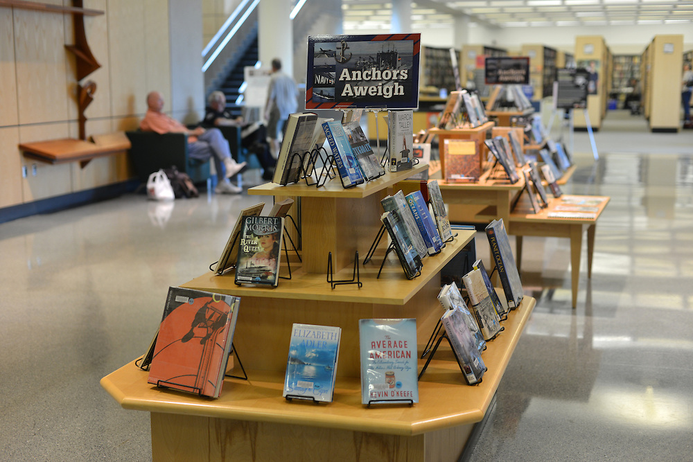 Featured display of books at the Akron-Summit County Public Library.
