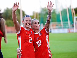 NEWPORT, WALES - Tuesday, June 12, 2018: Wales' Loren Dykes (left) and Jessica Fishlock celebrate after beating Russia 3-0 during the FIFA Women's World Cup 2019 Qualifying Round Group 1 match between Wales and Russia at Newport Stadium. (Pic by David Rawcliffe/Propaganda)