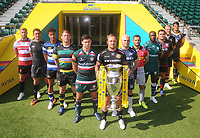 Rugby Union - 2017 / 2018 Aviva Premiership - New Season Launch Photocall<br /> <br /> (L-R) Gloucester's Ross Moriaty, Newcastle Falcons' Toby Flood, Bath's Anthony Watson, Northampton Saints' Dylan Hartley, Leicester Tigers' Ben Youngs, Exeter Chiefs' Jack Nowell, Sale Sharks' James O'Connor, Harlequins' Danny Care, London Irish's Topsy Ojo, Saracens' Jamie George, Wasps' James Haskell and Worcester Warriors' Doncha O'Callaghan. at Twickenham.<br /> <br /> COLORSPORT/ANDREW COWIE