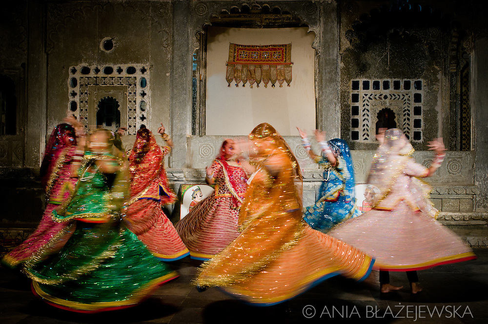 India, Rajasthan. Women performing traditional Rajasthani dances in Udaipur.