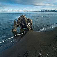 Aerial drone shot of Hvítserkur Sea Stack on Vatnsnes, Northwest Iceland.
