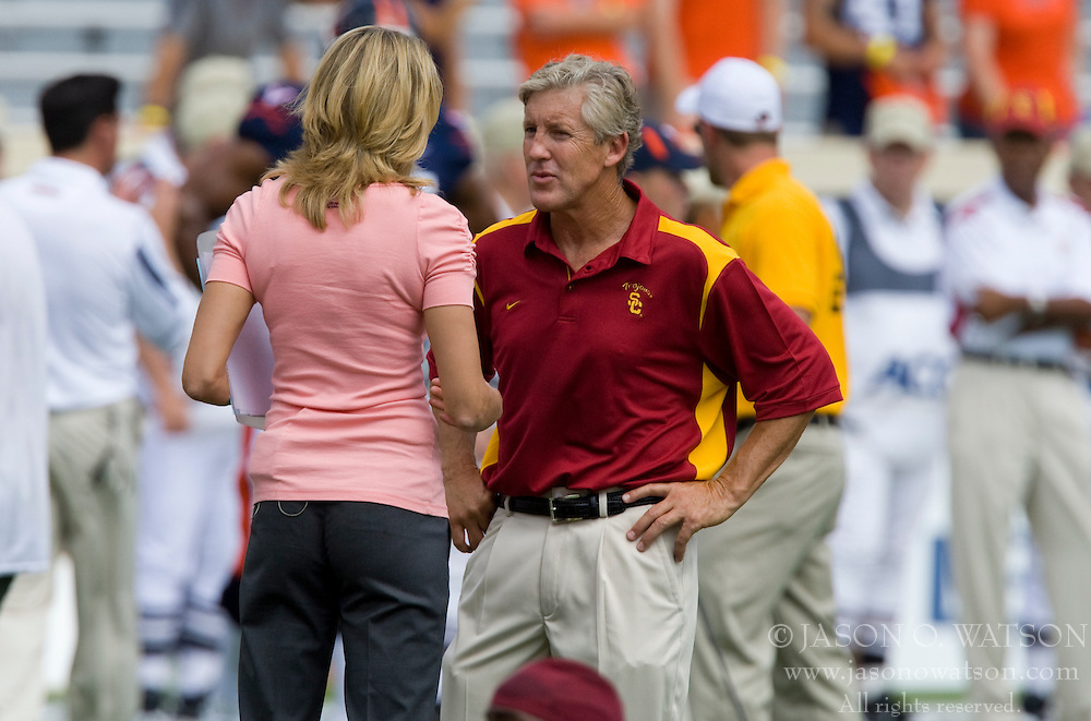 USC head coach Pete Carroll is interviewed before the UVA game.  The #3 ranked University of Southern California Trojans defeated the University of Virginia Cavaliers 52-7 at Scott Stadium in Charlottesville, VA on August 30, 2008.