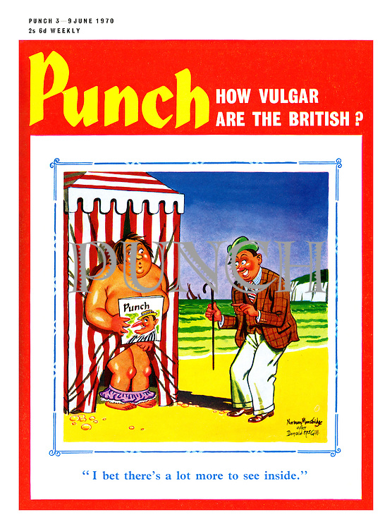 Punch Front Cover - 3rd June 1970 - How Vulgar Are The British? (A pastiche of a Donald McGill seaside postcard showing a woman in a changing booth while a man comments on Punch magazine covering her private parts)