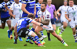 Will Chudley of Bath Rugby tackles Francois Hougaard of Worcester Warriors - Mandatory by-line: Alex James/JMP - 28/09/2019 - RUGBY - Recreation Ground - Bath, England - Bath Rugby v Worcester Warriors - Premiership Rugby Cup