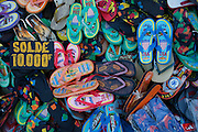 Flip flop shoes for sale at the Pavilion du Zoma market. Street scenes and daily life in Antananarivo the capital of Madagascar. ..Photo: Zute Lightfoot