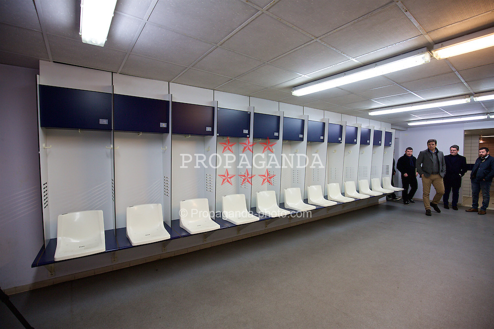 BORDEAUX, FRANCE - Tuesday, January 26, 2016: The dressing room at the Stade Chaban Delmas during Wales inspection visit ahead of the UEFA Euro 2016 Tournament. (Pic by David Rawcliffe/Propaganda)