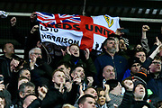 Leeds United fans celebrate the 3-0 win at full time during the EFL Sky Bet Championship match between Reading and Leeds United at the Madejski Stadium, Reading, England on 12 March 2019.
