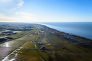 Nederland, Friesland, Gemeente het Bildt, 28-02-2016; buitendijks kweldergebied Het Noarderleech (NL: Noorderleeg), landaanwinning op de grens met het Friesche Wad. Dobbe met water voor het drenken van het vee.<br /> Land reclamation, Friese Wad, northern Friesland, tidal flat.<br /> <br /> luchtfoto (toeslag op standard tarieven);<br /> aerial photo (additional fee required);<br /> copyright foto/photo Siebe Swart