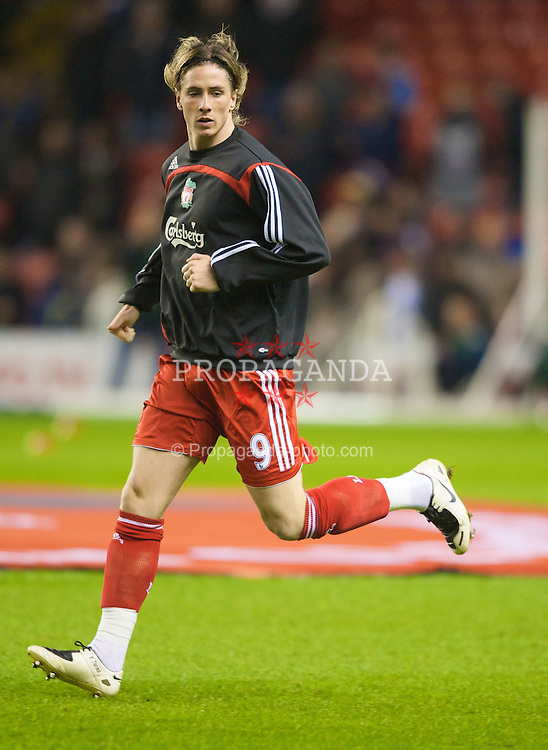 LIVERPOOL, ENGLAND - Wednesday, March 5, 2008: Liverpool's Fernando Torres warms-up before the Premiership match against West Ham United at Anfield. (Photo by David Rawcliffe/Propaganda)