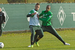 25.10.2011, Trainingsgelaende, Bremen, GER, 1.FBL, Training Werder Bremen, im Bild Marko Arnautovic (Bremen #7) im Zweikampf mit Naldo (Bremen #4) // during training session from Werder Bremen on 2011/10/25, Trainingsgelaende Werder Bremen, Bremen, Germany. EXPA Pictures © 2011, PhotoCredit: EXPA/ nph/  Gumz       ****** out of GER / CRO  / BEL ******