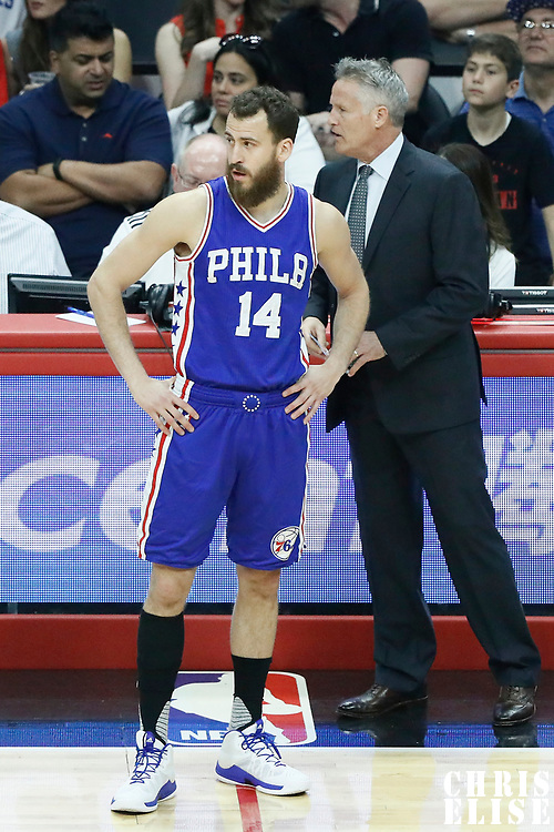11 March 2017: Philadelphia 76ers guard Sergio Rodriguez (14) is seen next to Philadelphia 76ers head coach Brett Brown during the LA Clippers 112-100 victory over the Philadelphia Sixers, at the Staples Center, Los Angeles, California, USA.