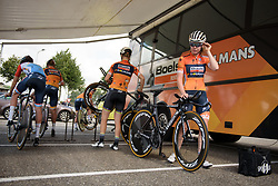 Anna van der Breggen gets ready to check out the course at Boels Rental Ladies Tour Stage 3 a 16.9 km individual time trial in Roosendaal, Netherlands on August 31, 2017. (Photo by Sean Robinson/Velofocus)