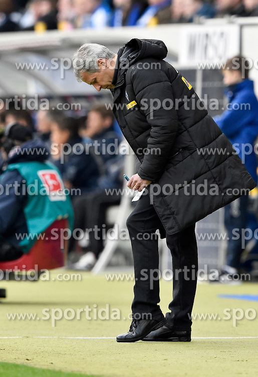 04.04.2015, Rhein Neckar Arena, Sinsheim, GER, 1. FBL, TSG 1899 Hoffenheim vs Borussia Moenchengladbach, 27. Runde, im Bild Trainer Lucien Favre Borussia Moenchengladbach macht Notizen am Spielfeldrand // during the German Bundesliga 27th round match between TSG 1899 Hoffenheim and Borussia Moenchengladbach at the Rhein Neckar Arena in Sinsheim, Germany on 2015/04/04. EXPA Pictures &copy; 2015, PhotoCredit: EXPA/ Eibner-Pressefoto/ Weber<br /> <br /> *****ATTENTION - OUT of GER*****