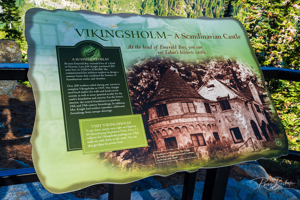 Vikingsholm Castle interpretive sign, Emerald Bay State Park, Lake Tahoe, California USA