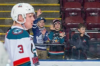 KELOWNA, CANADA - JANUARY 30:  Young fans stand at the glass during warm up at the Kelowna Rockets against the Seattle Thunderbirds on January 30, 2019 at Prospera Place in Kelowna, British Columbia, Canada.  (Photo by Marissa Baecker/Shoot the Breeze)