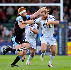 Ross Batty of Bath Rugby takes on the Glasgow Warriors defence - Photo mandatory by-line: Patrick Khachfe/JMP - Mobile: 07966 386802 18/10/2014 - SPORT - RUGBY UNION - Glasgow - Scotstoun Stadium - Glasgow Warriors v Bath Rugby - European Rugby Champions Cup
