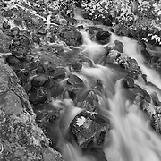 Wahkeena Lower Waterfalls - Columbia Gorge, Oregon - Infrared Black & White
