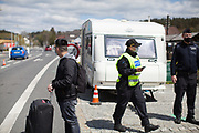 The Czech border police is checking and registrating citizens and foreigners before crossing the closed state border in between Germany and Czech Republic in Bayerisch Einsenstein after the corona virus outbreak changed our public lifes. Czech Republic is in the state of emergency and just their own citizens or foreigners with a residence permit are allowed to enter.