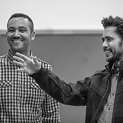 Solomon Tsegai (l) and Tesfay Bereketeab (r) play an important role in the organization of the community. The are the first contact with Eritreans arriving to Montreal and the community. (Oscar Aguirre)