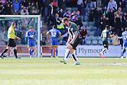 Plymouth Argyle defender Peter Hartley (6) expresses himself as Plymouth Argyle midfielder Graham Carey (10) makes it 1-1  during the Sky Bet League 2 match between Plymouth Argyle and AFC Wimbledon at Home Park, Plymouth, England on 9 April 2016. Photo by Stuart Butcher.