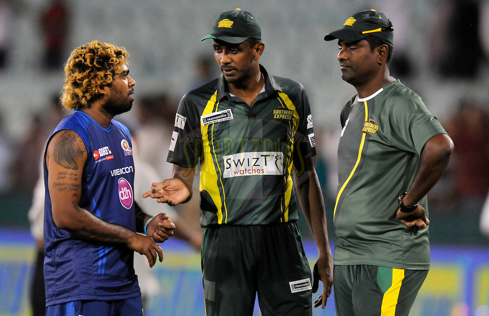 Lasith Malinga of Mumbai Indians chats with Farveez Maharoof of Southern Express after the qualifier 4 match of the Oppo Champions League Twenty20 between the Mumbai Indians and the Southern Express held at the Chhattisgarh International Cricket Stadium, Raipur, India on the 14th September 2014<br /> <br /> Photo by:  Pal Pillai / Sportzpics/ CLT20<br /> <br /> <br /> Image use is subject to the terms and conditions as laid out by the BCCI/ CLT20.  The terms and conditions can be downloaded here:<br /> <br /> http://sportzpics.photoshelter.com/gallery/CLT20-Image-Terms-and-Conditions-2014/G0000IfNJn535VPU/C0000QhhKadWcjYs