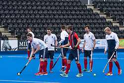 Hampstead & Westminster warm up before the final. Hampstead & Westminster v Surbiton - Men's Hockey League Final, Lee Valley Hockey & Tennis Centre, London, UK on 29 April 2018. Photo: Simon Parker