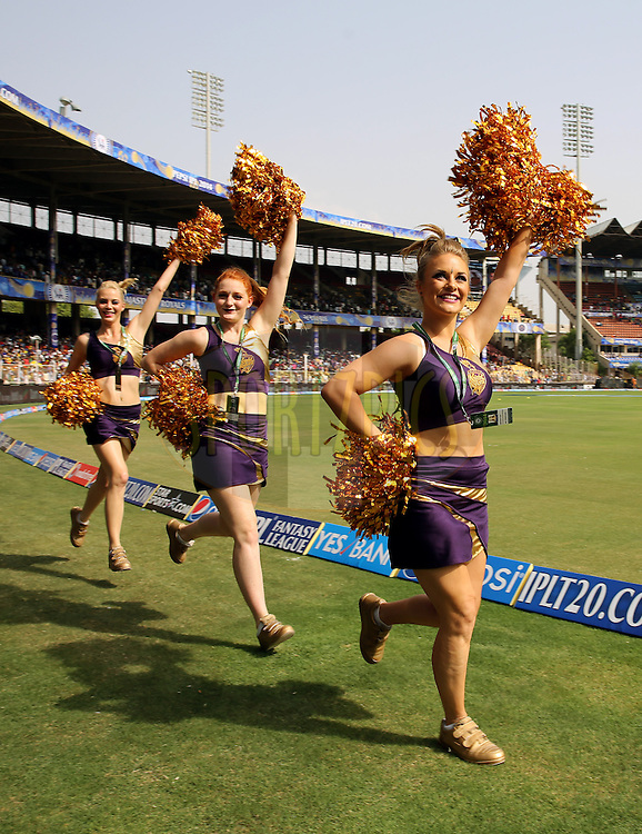 Cheers Girls of Kolkatta Knight Riders walks in before the match 25 of the Pepsi Indian Premier League Season 2014 between the Rajasthan Royals and the Kolkata Knight Riders held at the Sardar Patel Stadium, Ahmedabad, India on the 5th May  2014<br /> <br /> Photo by Sandeep Shetty / IPL / SPORTZPICS      <br /> <br /> <br /> <br /> Image use subject to terms and conditions which can be found here:  http://sportzpics.photoshelter.com/gallery/Pepsi-IPL-Image-terms-and-conditions/G00004VW1IVJ.gB0/C0000TScjhBM6ikg