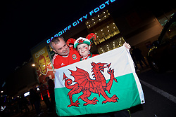 CARDIFF, WALES - Monday, October 9, 2017: Wales supporters outside the stadium ahead of the 2018 FIFA World Cup Qualifying Group D match between Wales and Republic of Ireland at the Cardiff City Stadium. (Pic by Paul Greenwood/Propaganda)