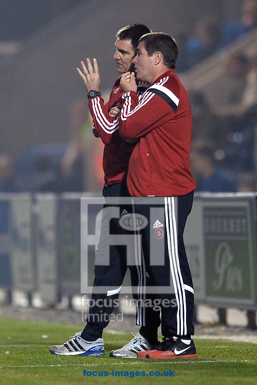Nigel Clough, Manager of Sheffield United speaks to his Assistant Chris Morgan during the Sky Bet League 1 match between Colchester United and Sheffield United at the Weston Homes Community Stadium, Colchester<br /> Picture by Richard Blaxall/Focus Images Ltd +44 7853 364624<br /> 16/09/2014