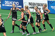 Anna Thorpe celebrates scoring New Zealand's third goal during the pool B women's hockey match of the The Commonwealth Games between New Zealand and Wales held at the Stadium in New Delhi, India on the  October 2010..Photo by:  Ron Gaunt/SPORTZPICS/PHOTOSPORT